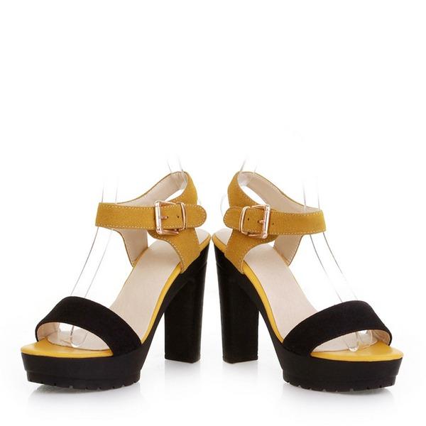 De mujer Cuero Tacón ancho Sandalias Salón Plataforma Encaje Solo correa con Hebilla zapatos