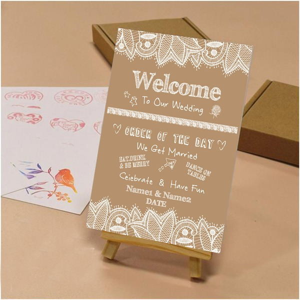 Stile classico/Nizza Bella Tela Wedding Sign con Cavalletto