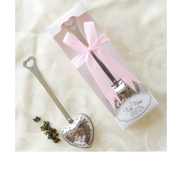 """Tea Time"" Heart Shaped Metal Tea Party Favors/Tea Infuser With Ribbons (Sold in a single)"