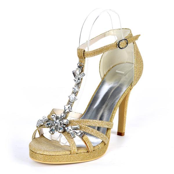 Women's Sparkling Glitter Stiletto Heel Peep Toe Platform Pumps Sandals With Rhinestone
