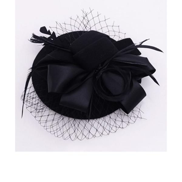 Dames Style Vintage Velours/Tulle Chapeaux de type fascinator/Chapeaux Tea Party