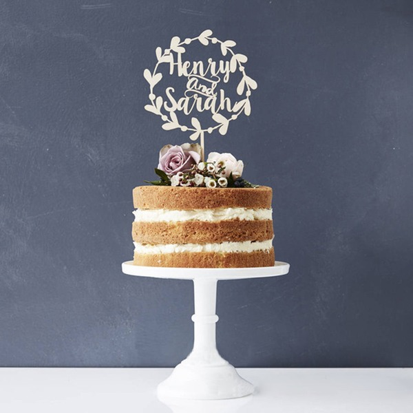 Personalized Bride And Groom Acrylic/Wood Cake Topper
