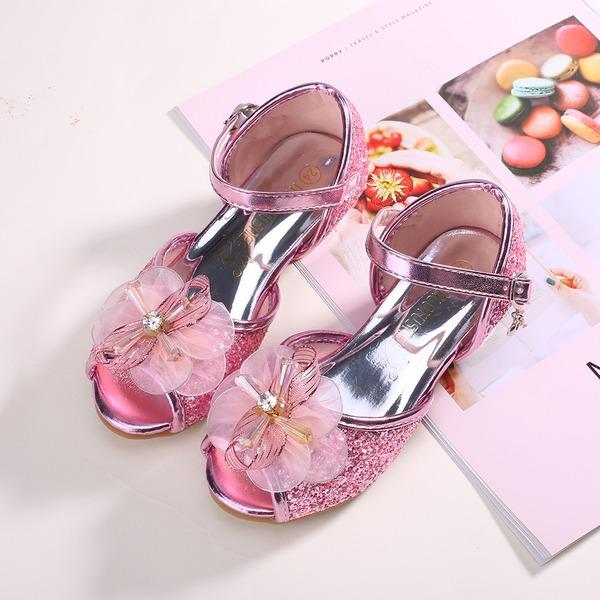Mädchens Peep Toe funkelnden Glitter Flache Schuhe mit Bowknot Klettverschluss