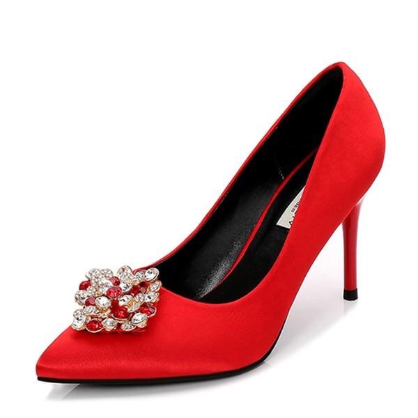 Vrouwen Satijn Stiletto Heel Pumps Closed Toe met Strass schoenen