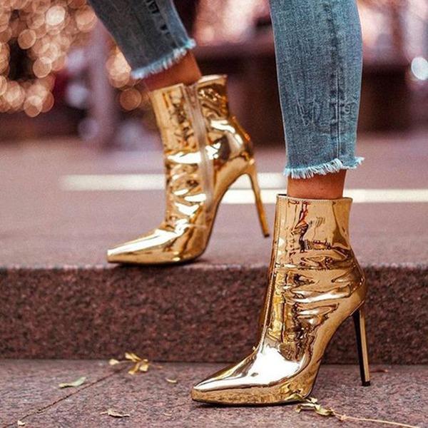Frauen Lackleder Spule Absatz Absatzschuhe Geschlossene Zehe Stiefel Stiefelette mit Reißverschluss Schuhe