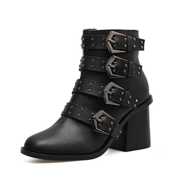 Kvinnor PU Tjockt Häl Stövlar Boots med Nita Zipper skor