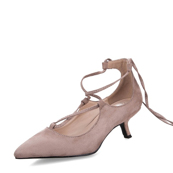 Kvinnor Mocka Stilettklack Sandaler Pumps Stängt Toe med Bandage skor