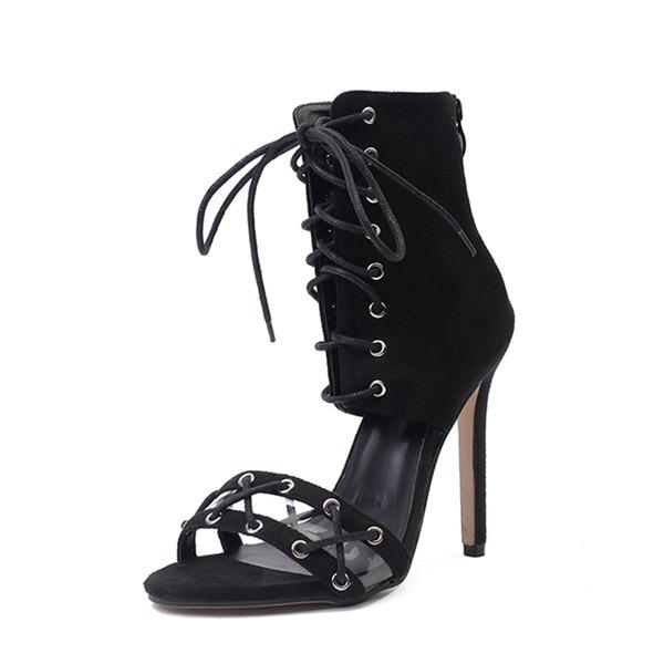 Frauen Veloursleder Stöckel Absatz Sandalen Absatzschuhe Peep Toe mit Reißverschluss Zuschnüren Schuhe