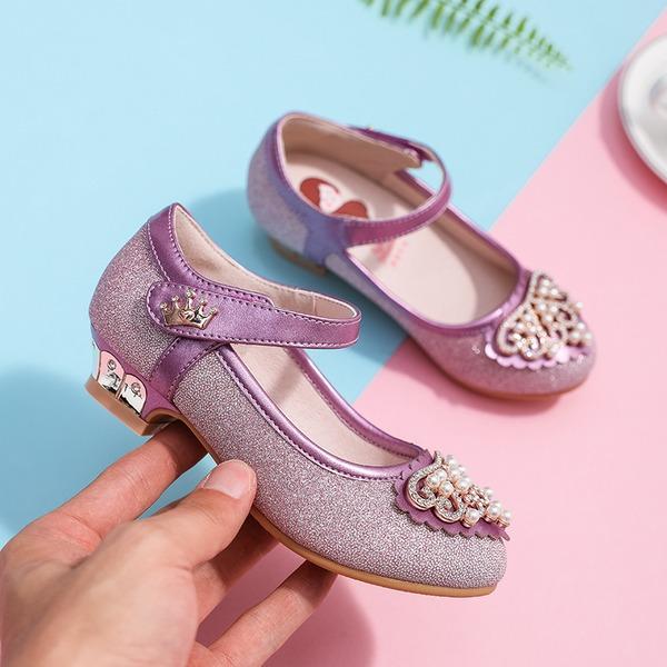 Fille de bout rond Bout fermé Cuir en microfibre talon plat Chaussures plates Chaussures de fille de fleur avec Velcro Cristal Pearl
