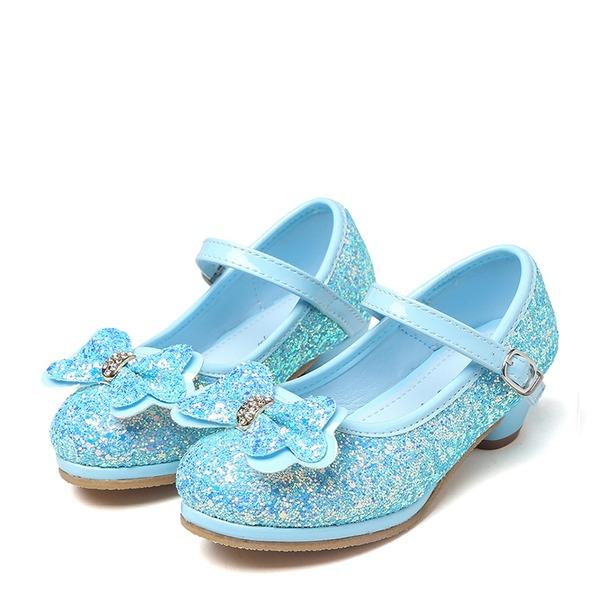 девичий Круглый носок игристые Блеск низкий каблук На каблуках Обувь для девочек с бантом горный хрусталь