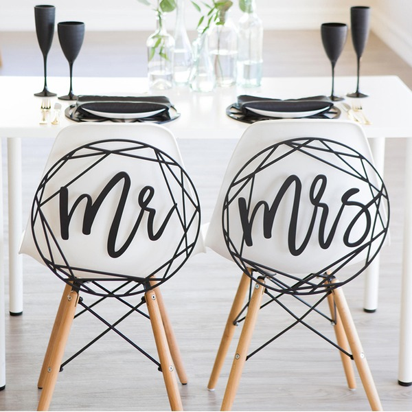 """Mr. & Mrs."" Elegante De madeira wedding Registe- (conjunto de 2)"
