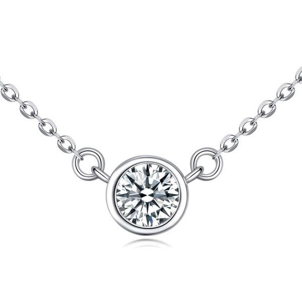 Dames Schijnt S925 Silver met Rond Kubieke Zirkonia Kettingen Haar/Vrienden/Bruidsmeisje