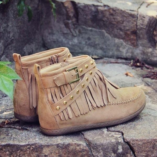 Vrouwen Suede Flat Heel Laarzen Enkel Laarzen Half-Kuit Laarzen met Tassel schoenen