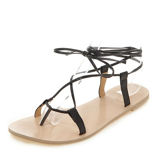 Женщины PU Плоский каблук Сандалии На плокой подошве Открытый мыс Босоножки с Шнуровка обувь