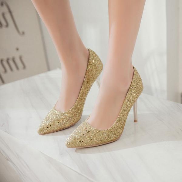 Kvinnor PU Stilettklack Pumps med Paljetter skor