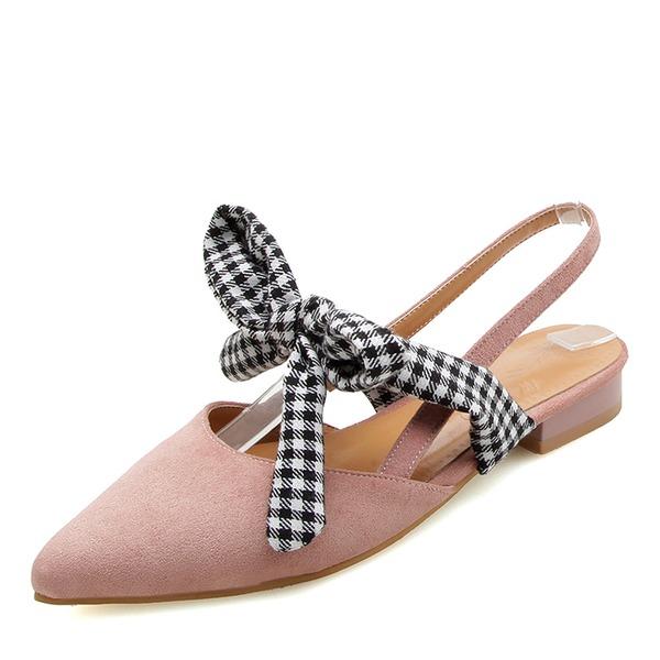 Frauen Veloursleder Flascher Absatz Sandalen Geschlossene Zehe mit Bowknot Schuhe