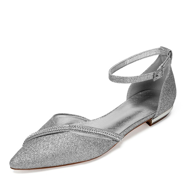 Frauen Funkelnde Glitzer Flascher Absatz Flache Schuhe Sandalen mit Strass Pailletten Funkelnde Glitzer