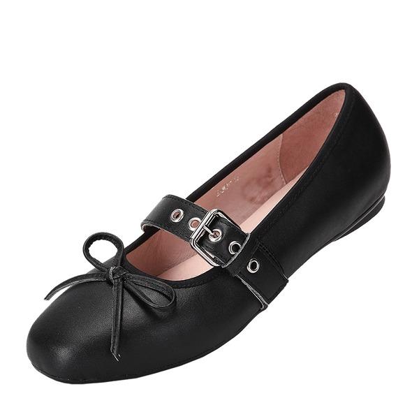 Frauen Echtleder Flascher Absatz Flache Schuhe Geschlossene Zehe Mary Jane mit Bowknot Schuhe