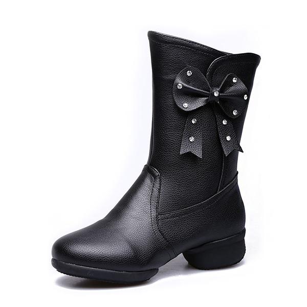 Femmes Vrai cuir Tennis Bottes de Danse avec Une fleur Chaussures de danse
