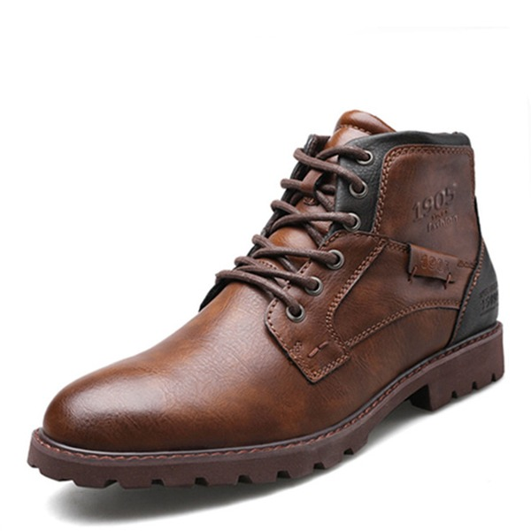 Men's Leatherette Lace-up Chukka Casual Men's Boots