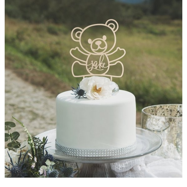 Personalized Bear Design Acrylic/Wood Cake Topper