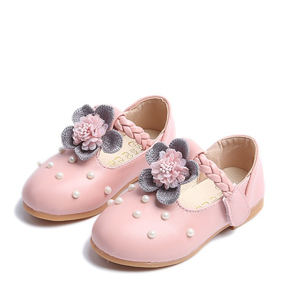 Muchacha Punta Cerrada Mary Jane Kunstleder Talón plano Planos Zapatos de niña de las flores con Perlas de imitación Velcro Flor