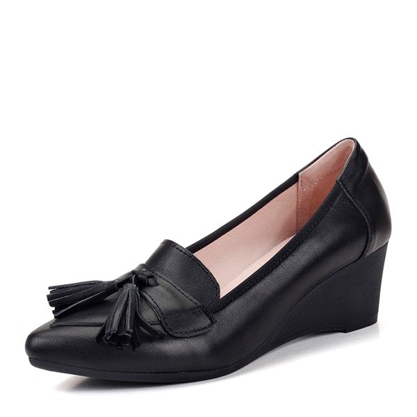 Women's Real Leather Wedge Heel Closed Toe Wedges With Bowknot shoes
