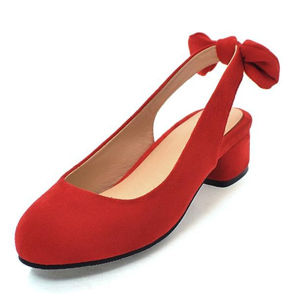 Vrouwen Suede Low Heel Slingbacks met strik schoenen
