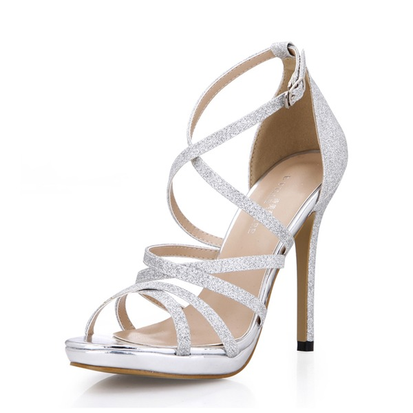 Frauen Funkelnde Glitzer Stöckel Absatz Sandalen Peep Toe Schuhe