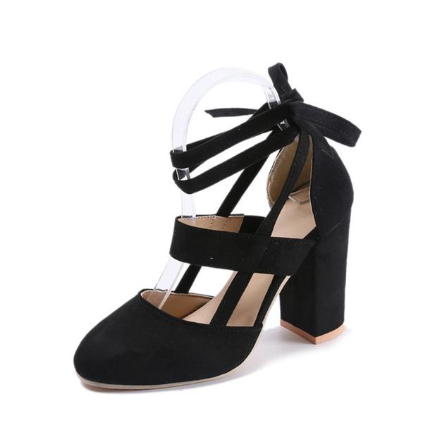Frauen Veloursleder Stämmiger Absatz Absatzschuhe Geschlossene Zehe mit Zuschnüren Hohl-out Schuhe