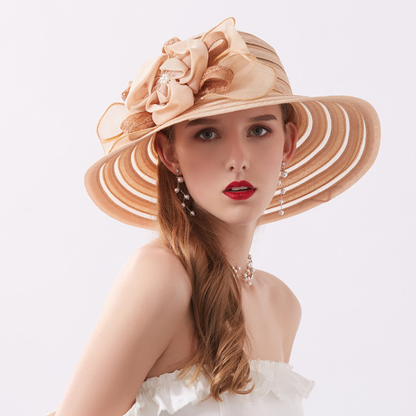 Ladies' Classic/Simple Polyester Beach/Sun Hats/Kentucky Derby Hats/Tea Party Hats