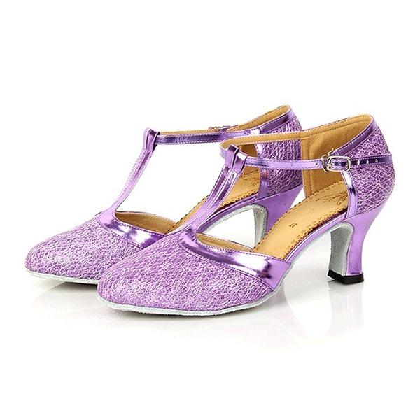 Femmes Similicuir Pailletes scintillantes Talons Salle de bal avec Boucle Chaussures de danse