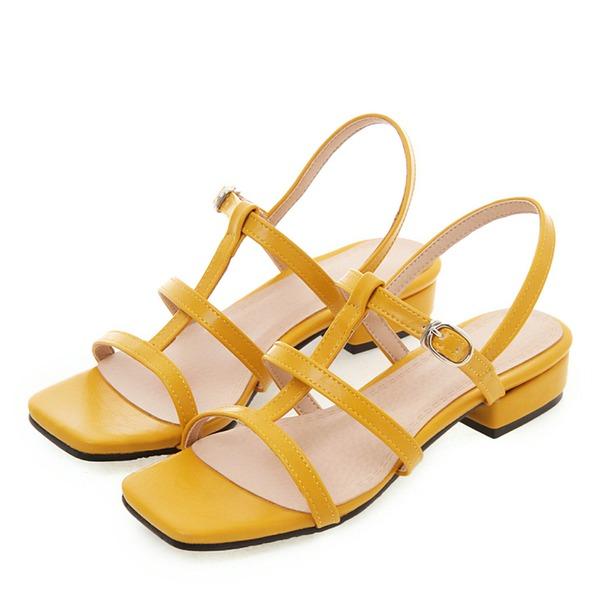 Donna Pelle verniciata Tacco spesso Sandalo Punta aperta scarpe