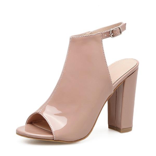 Femmes Cuir verni Talon bottier Escarpins Bottes À bout ouvert Escarpins Bottines avec Boucle chaussures