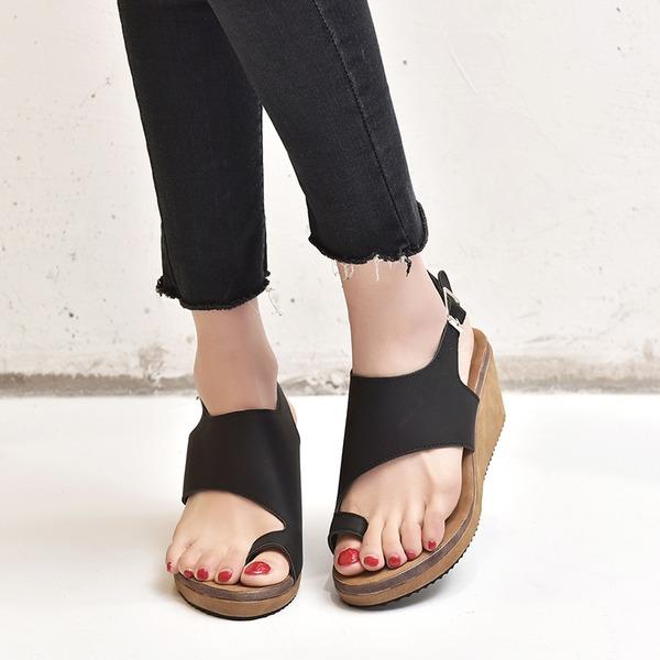 Vrouwen Kunstleer Wedge Heel Sandalen schoenen
