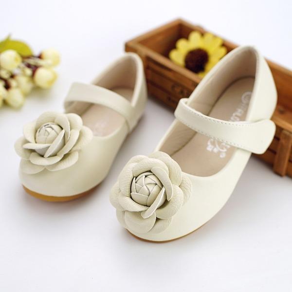 Jentas Round Toe Leather flat Heel Flate sko Flower Girl Shoes med Velcro Blomst