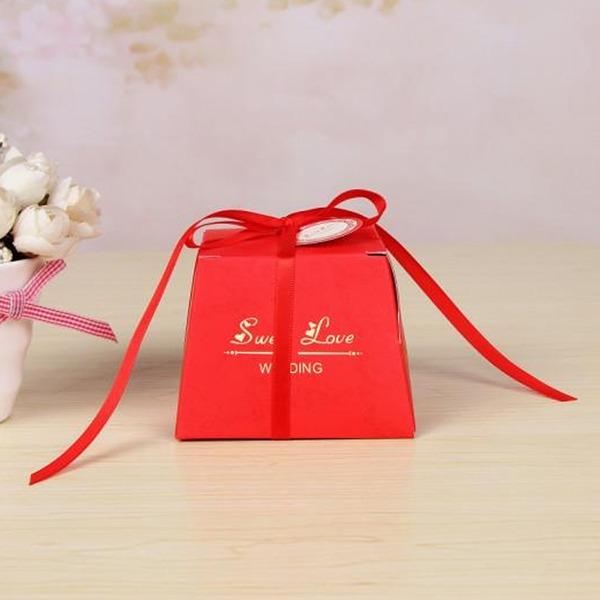 Klassische Art Karton Papier Geschenkboxen mit Bänder (Satz von 12)