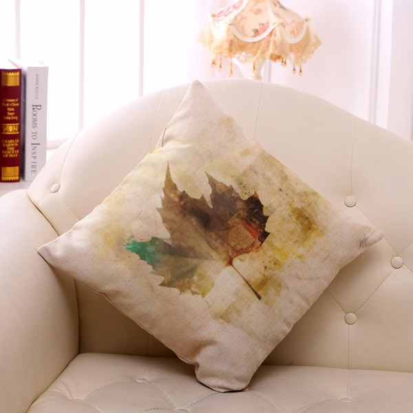 Vintage Plant Leaf Printing Linen Cotton Pillowcases (Sold in a single piece)