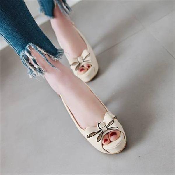 Vrouwen Kunstleer Chunky Heel Sandalen Pumps Plateau Peep Toe met strik schoenen