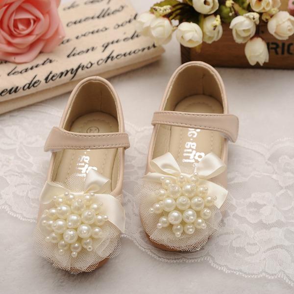 Jentas Round Toe Mary Jane Leather flat Heel Flate sko med Bowknot Imitert Perle Velcro