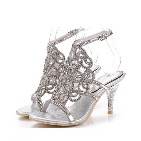 Women's Leatherette Stiletto Heel Sandals Slingbacks With Rhinestone