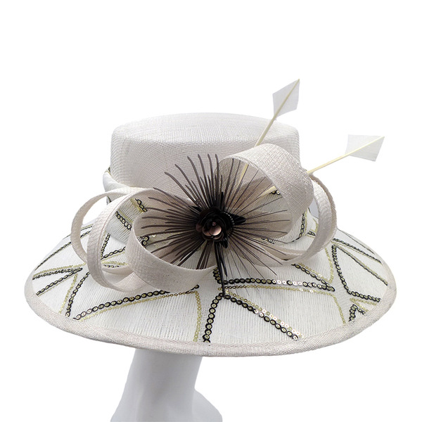 Ladies' Glamourous/Handmade/Nice Cambric With Feather Kentucky Derby Hats/Tea Party Hats