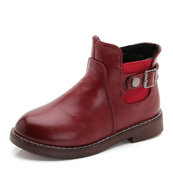 Jentas Round Toe Lukket Tå Ankelstøvler Leather flat Heel Flate sko Støvler Flower Girl Shoes med Spenne Elastisk bånd