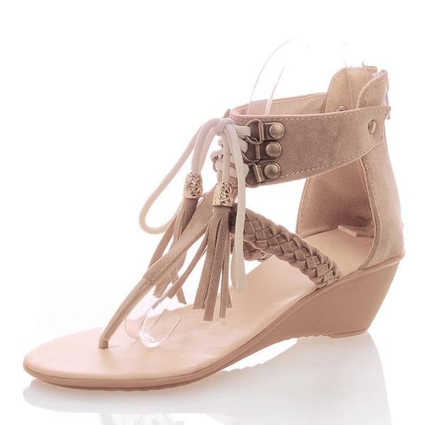 Donna Camoscio Zeppe Sandalo Zeppe con Nappa scarpe