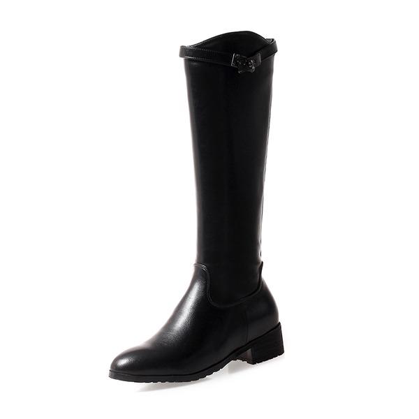 Kadın Suni deri Kalın Topuk Bot Mid-Buzağı Boots Ile Fermuar ayakkabı
