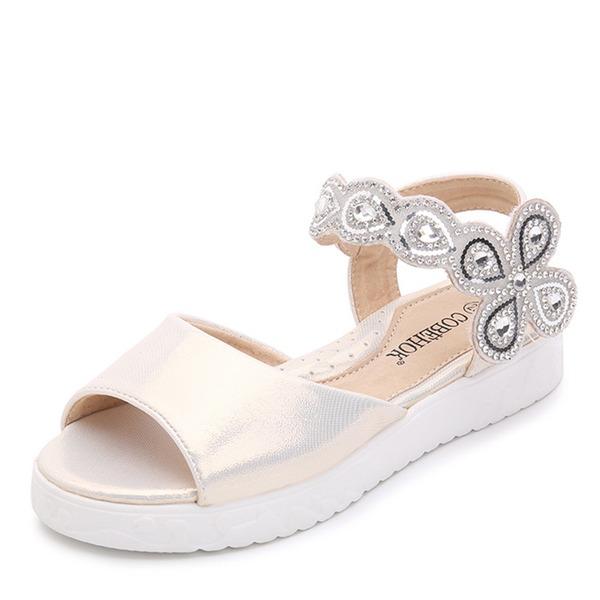 Jentas Titte Tå Patent lær flat Heel Sandaler Flate sko Flower Girl Shoes med Velcro Crystal