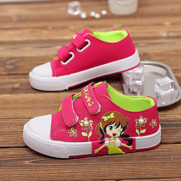 Girl's Round Toe Closed Toe Canvas Flat Heel Flats Sneakers & Athletic With Velcro