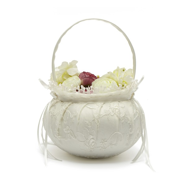 Lovely Flower Basket in Satin With Bow/Lace