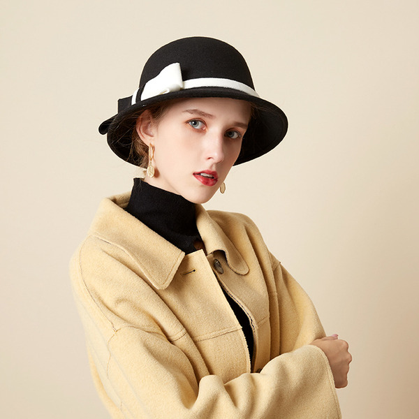 Ladies' Beautiful/Glamourous/Charming Wool Blend With Bowknot Bowler/Cloche Hats