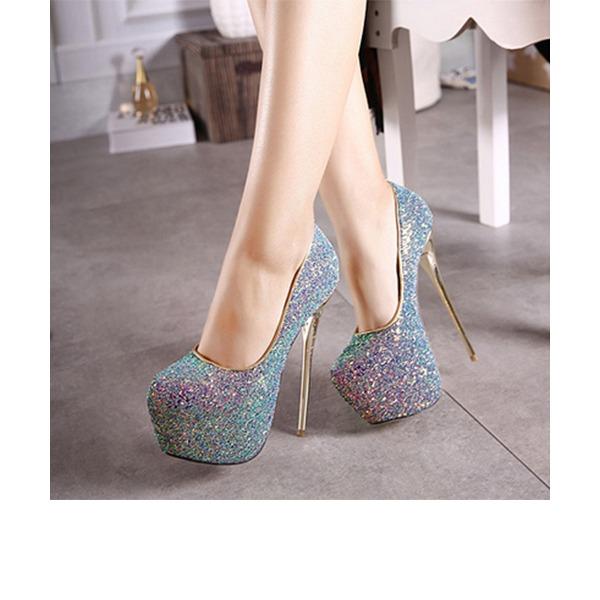 Женщины Мерцающая отделка Высокий тонкий каблук На каблуках Платформа Закрытый мыс обувь